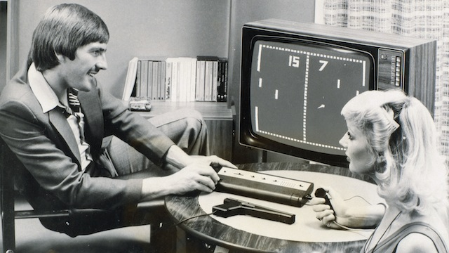 Steve Heighway playing 'Pong', 26 September 1977