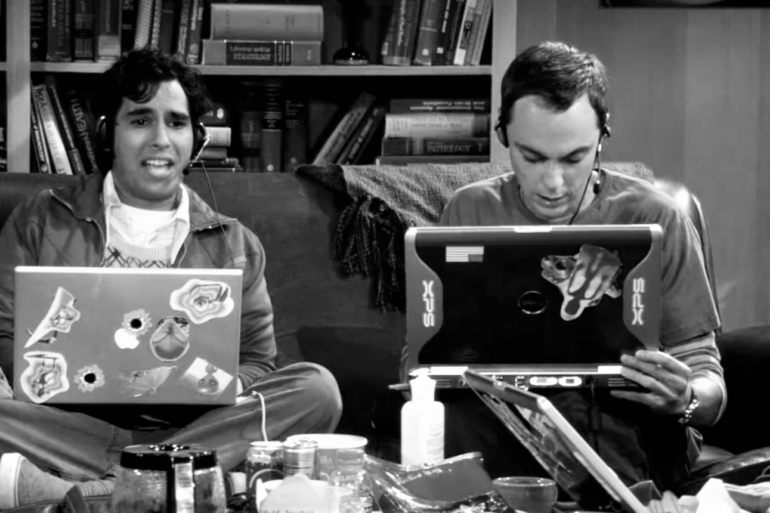 "Scène de gaming dans la série ""The Big Bang Theory"""